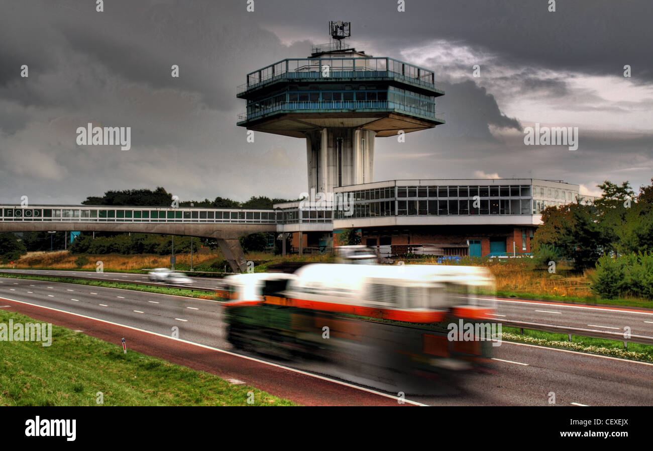 M6 Motorway,Lancaster,Moto,Services,iconic,Tower,gotonysmith,stations,England,lancs,lancashire,Great,Britain,network,GB,UK,United,Kingdom,road,roads,traffic,passing,truck,wagon,busy,dramatic,sky,gotonysmith,Buy Pictures of,Buy Images Of