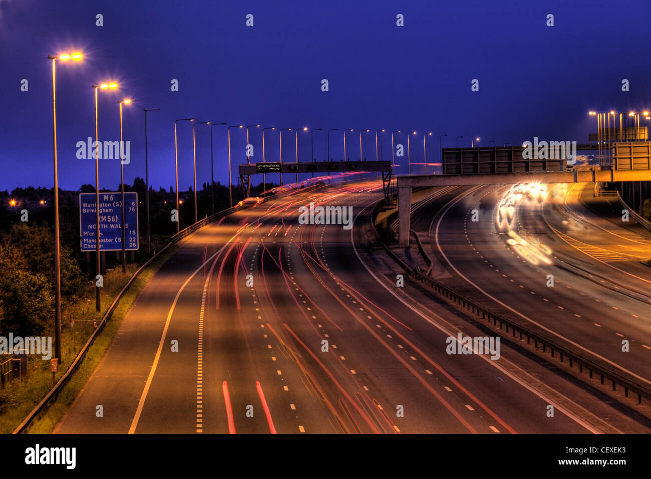 M6 Junction 21 at dusk,night,shot,slow,exposure,blue,hour,blue-hour,bluehour,gotonysmith,Birchwood,Warrington,motorway,freeway,turnpike,england,english,british,car,trails,cartrail,cartrails,long,speed,speeding,70,mph,gotonysmith,Motorways,freeway,Buy Pictures of,Buy Images Of