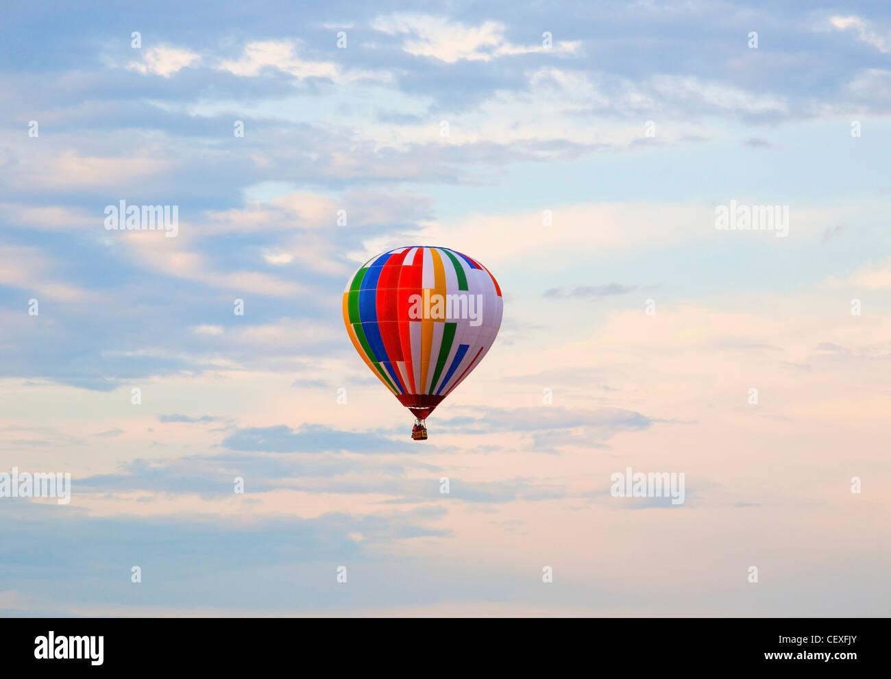 hot air balloon in flight; st. jean sur richelieu, quebec, canada - Stock Image