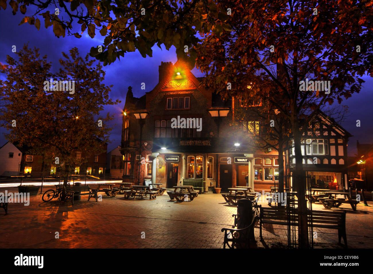 The Mulberry Tree Pub Stockton Heath,South Warrington,Cheshire,UK,at,dusk,Victoria,square,autumn,trees,tree,gotonysmith,historic,pub,public,house,English,village,pub,in,NW,North,West,England,freehouse,free,house,landlord,at,dusk,night,shot,nightshot,gotonysmith,Buy Pictures of,Buy Images Of