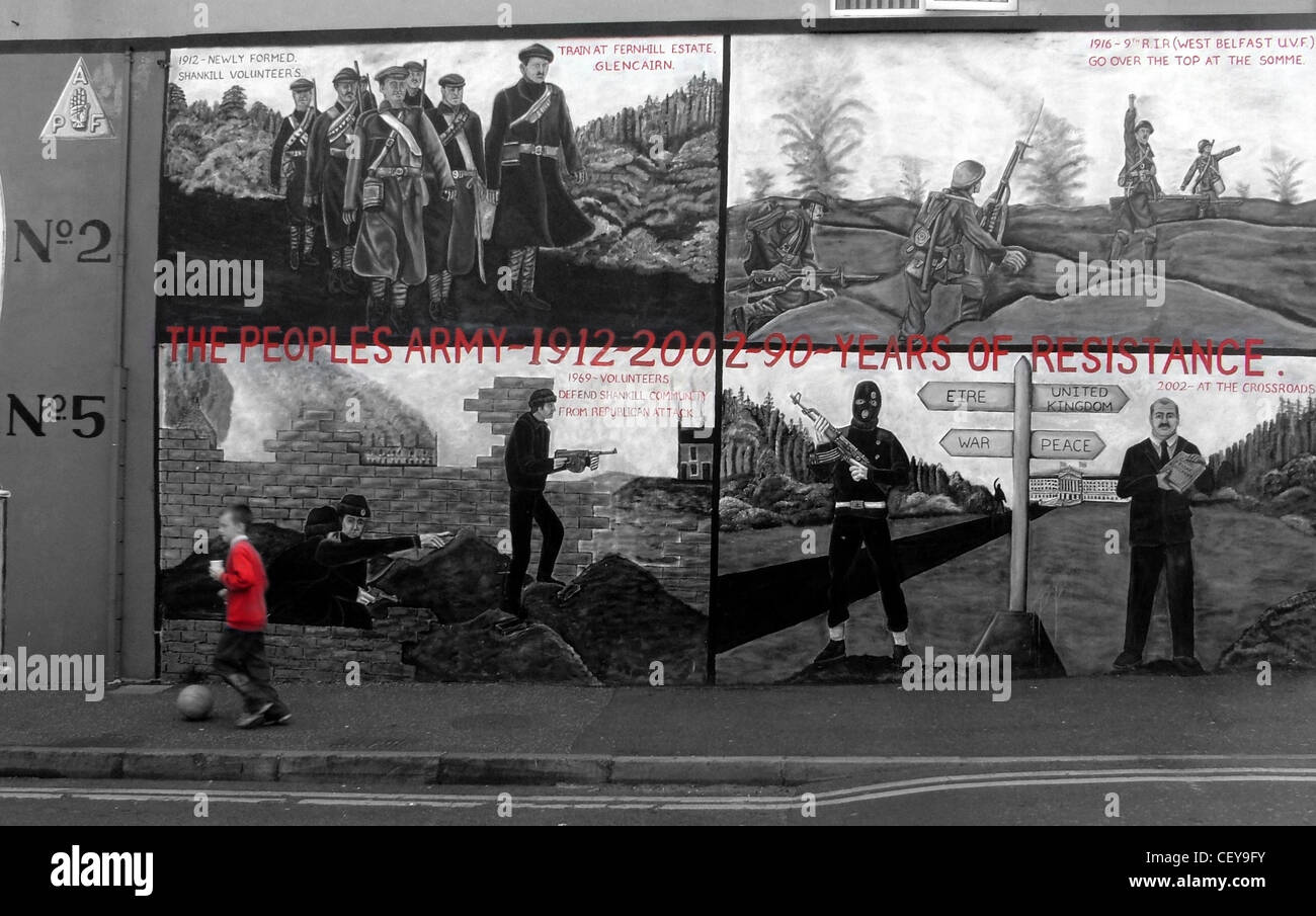 Boy kicking ball Shankill Road Mural Belfast,Northern Ireland,UK,BT13,2AA,near,Ballysillan,Unionist,British,part,of,Ireland,The,Peoples,Army,1912-2002,20,years,of,resistance,Belfastmurals,murals,mural,monochrome,BW,B/W,No2,No5,gotonysmith,red,pullover,top,red,and,grey,gray,UDF,Ulster,unionism,rd,Ulster,unionism,Northern,Ireland,NI,GB,UK,United,Kingdom,Protestant Protestantism Britishness symbols flag union jack selective color colour,gotonysmith,United Kingdom of Great Britain and Northern Ireland,Buy Pictures of,Buy Images Of