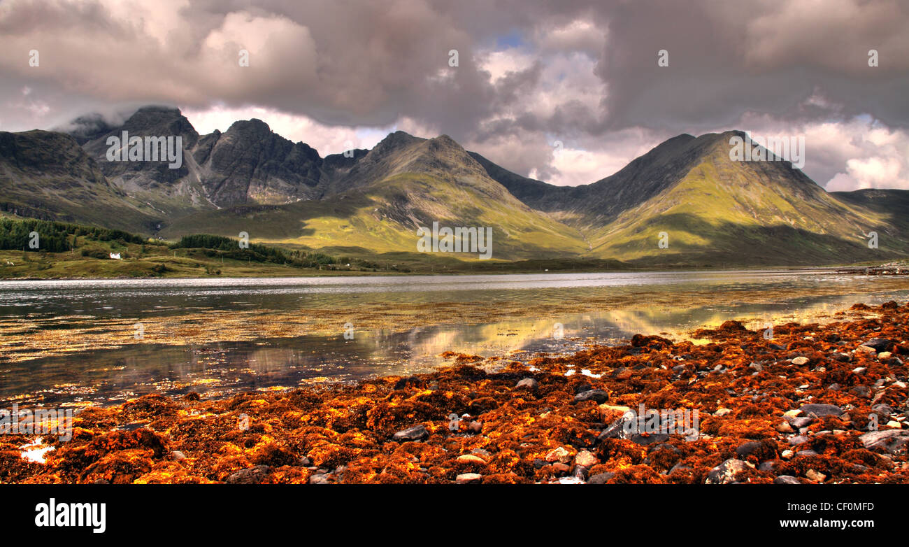 Skye,Torin,Panorama,Great,Scenery,Vista,from,Skyes,South.,Dramatic,Mountains,across,a,sea,loch,lined,with,brown,seaweed,lochs,Torrin,Skye,Torrin,Panorama,Great,Scenery,Vista,from,Skyes,South.,Dramatic,Mountains,across,a,sea,loch,lined,with,brown,seaweed.postcard,post,card,Na,Torrain,gotonysmith,Skye,Torrin,Panorama,Great,Scenery,Vista,from,Skyes,South.,Dramatic,Mountains,across,a,sea,loch,lined,with,brown,seaweed.,Torin,(Scottish,Gaelic,Na,Torrain),is,a,settlement,on,the,island,of,Skye,in,Scotland.,The,crofting,and,fishing,village,lies,on,the,eastern,shore,of,Loch,Slapin,5 miles (7 km) southwest of Broadford (An t-Àth Leathann),on,the,road,to,Elgol,(Ealaghol).,There,is,a,mixture,of,Victorian,white-washed,cottages,and,modern,flat-pack,houses.,The,village,boasts,good,views,of,Blaven,and,Loch,Slapin.,Torrin,sits,on,Durness,limestone.,There,is,an,abundance,of,trees,and,varied,plant,flora,including,more,than,a,dozen,species,of,orchids.,Much,of,the,area,is,designated,a,Site,of,Special,Scientific,Interest,and,a,Special,Area,of,Conservation,gotonysmith,Buy Pictures of,Buy Images Of