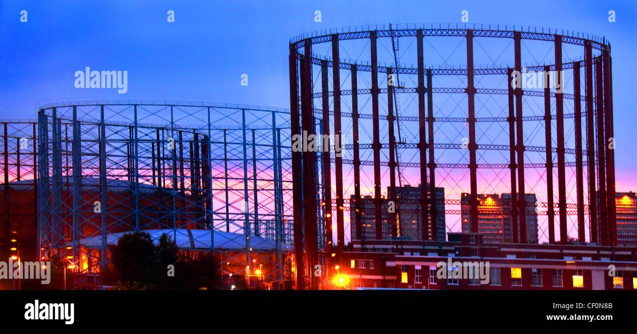 Gasholders,at,Aston,Birmingham,West,Midlands,United,Kingdom,at,Dusk,night,morning,sunrise,sunset,second,city,2nd,urban,suburban,across,cityscape,purple,blue,hour,tower,blocks,gotonysmith,towerblock,towerblocks,pink,cool,city,shots,shot,coolest,Brummy,Brummie,gotonysmith,Buy Pictures of,Buy Images Of