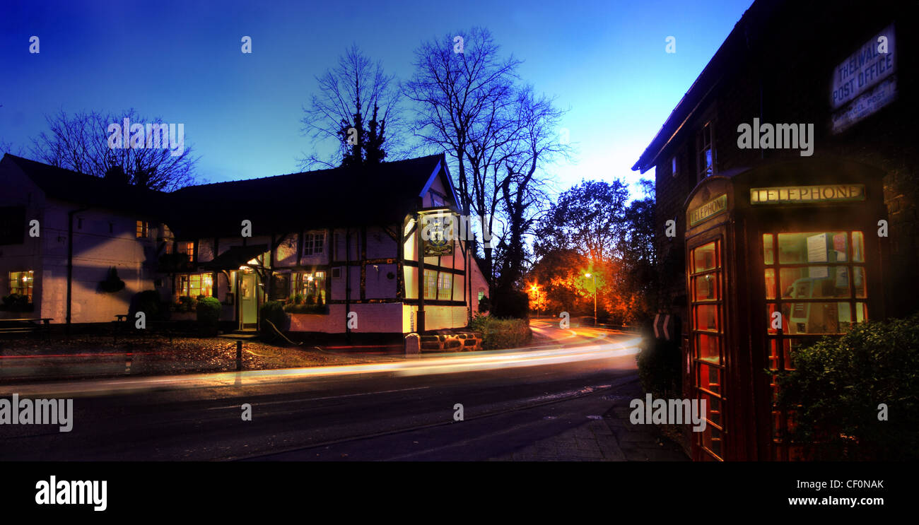 The,Pickerings,Arms,pub,Thelwall,old,post,office,and,Bell,lane,at,night,South,Warrington,Cheshire,English,village,UK,gotonysmith,dusk,shot,nightshot,red,british,telephone,box,car,trail,trails,blue,hour,gotonysmith,Buy Pictures of,Buy Images Of