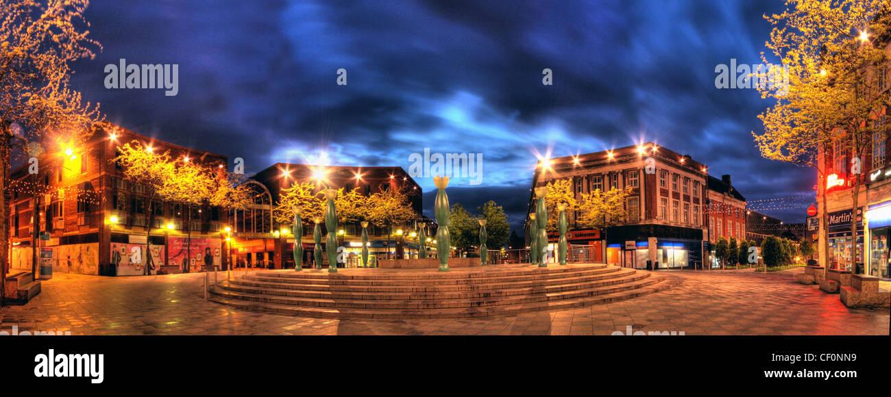 County Borough of Warrington bomb attacks Bridge Street,Warrington,Cheshire,England,UK,at,dusk,showing,ten,skittles,10,Guardians,familiar,to,Warringtonians,marketgate,market,gate,gotonysmith,blue,plaque,plaques,night,shot,evening,early,golden,square,goldensquare,shops,shop,shopping,area,centre,gotonysmith,Buy Pictures of,Buy Images Of