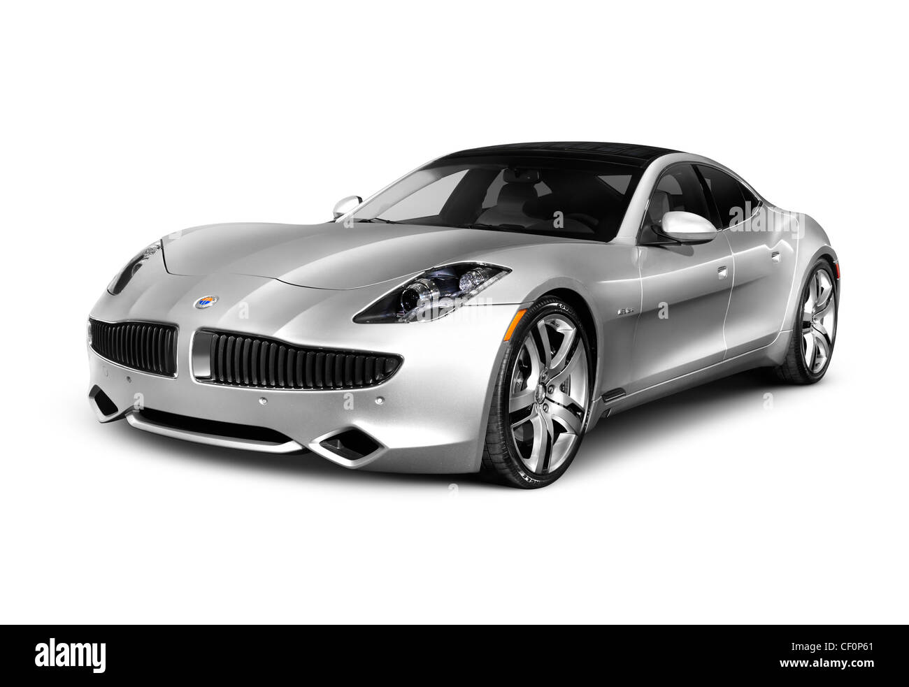 2012 Fisker Karma plug-in hybrid sedan electric luxury car. Isolated on white background with clipping path. - Stock Image