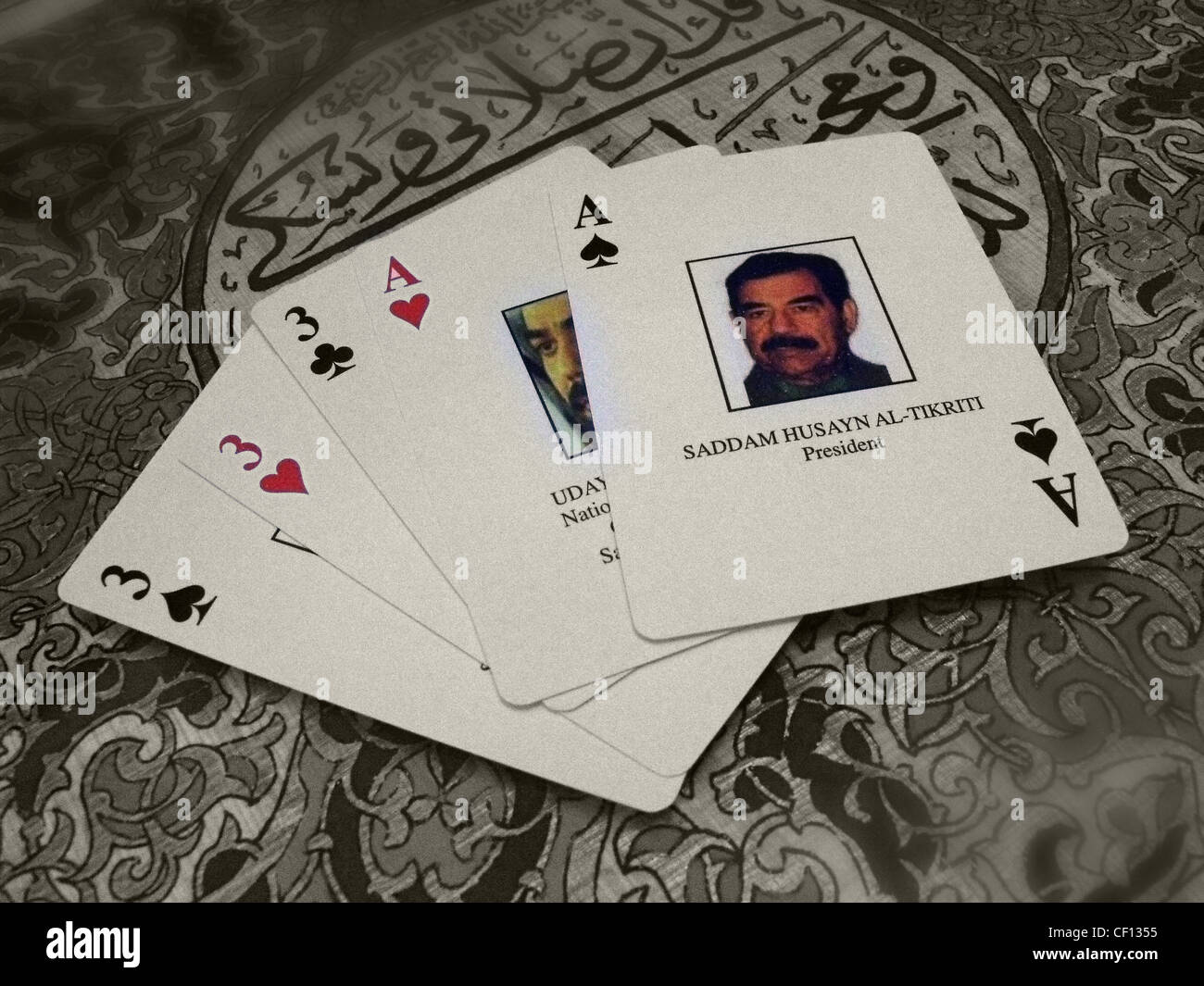 Saddam,Hussein,playing,cards,Ace,gotonysmith,Saddam,Hussein,Abd,al-Majid,al-Tikriti,(Arabic,صدام حسين عبد المجيد التكريتي Ṣadd�m Ḥusayn ʿAbd al-Maǧīd al-Tikrītī,28,April,1937,–,30,December,2006),was the fifth President of Iraq,serving,in,this,capacity,from,16,July,1979,until,9,April,2003,1,2,3,Saddam Hussein Abd al-Majid al-Tikriti (Arabic,صدام حسين عبد المجيد التكريتي Ṣadd�m Ḥusayn ʿAbd al-Maǧīd al-Tikrītī,28,April,1937,–,30,December,2006),was the fifth President of Iraq,serving,in,this,capacity,from,16,July,1979,until,9,April,2003.,A leading member of the revolutionary Arab Socialist Baath Party,and later,the,Baghdad-based,Baath,Party,and,its,regional,organisation,Baath,Party,–,Iraq,Region,which espoused baathism,a mix of Arab nationalism and Arab socialism,Saddam played a key role in the 1968 coup,later referred to as the 17 July Revolution,that,brought,the,party,to,long-term,power,of,Iraq.,As,vice,president,under,the,ailing,General,Ahmed,Hassan,al-Bakr,playing cards government,Saddam created security forces ace of spades,gotonysmith,1,2,3,4,5,Buy Pictures of,Buy Images Of