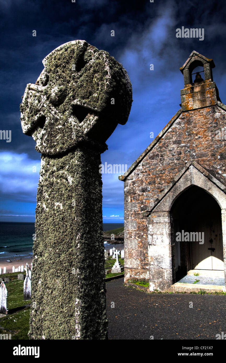 Barnoon Chapel,Celtic,cross,And,Graveyard,with,blue,summer,sky,St,Ives,Cornwall,gotonysmith,art,atist,artist,gotonysmith,Buy Pictures of,Buy Images Of,Barnoon,Chapel,And,Graveyard,St,Ives,Cornwall,England,UK,GB,West,Great,Western