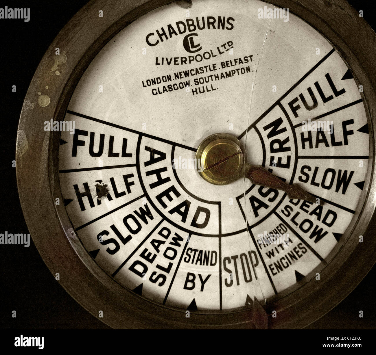 An engine order telegraph or E.O.T.,often also called a Chadburn,is,a,communications,device,used,on,a,ship,(or,submarine),for,the,pilot,on,the,bridge,to,order,engineers,in,the,engine,room,to,power,the,vessel,at,a,certain,desired,speed,gotonysmith,sea,going,ship,boat,Full,half,slow,dead,slow,stand,by,stop,finished,with,engines,dead,slow,ahead,astern,gotonysmith,Buy Pictures of,Buy Images Of