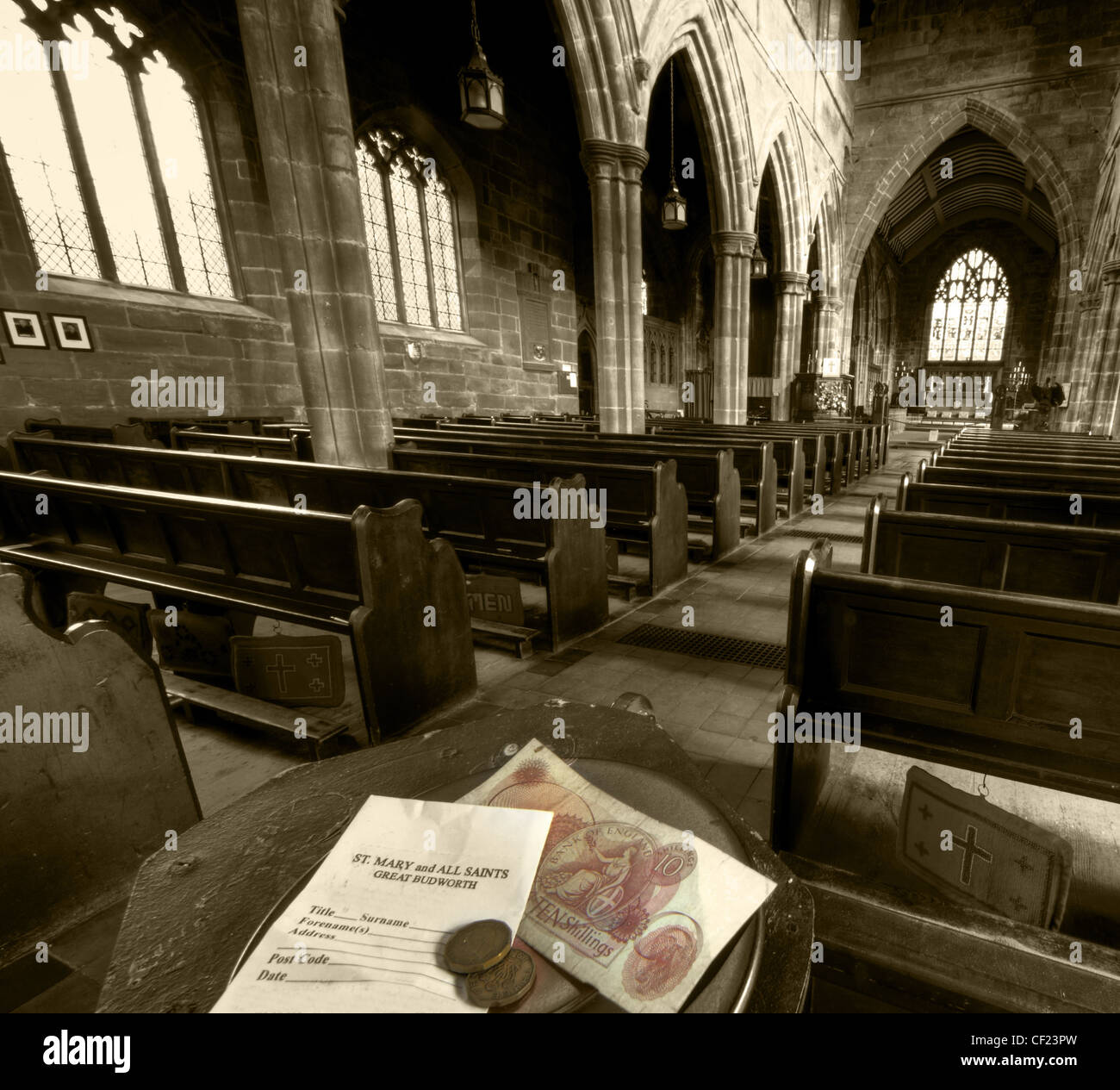 Collection,plate,donation,Great,Budworth,St,Marys,Church,Northwich Cheshire,England,UK,gotonysmith,religion,Church,of,England,CofE,inside,interior,pews,roof,arches,monumant,10,ten,shilling,note,3d,bit,threepenny,three,penny,bit,old,british,great,GB,Brittania,A,view,from,the,collection,plate,St,Mary,and,All,Saints,church,Great Budworth,Northwich,Cheshire.,gotonysmith,thrippnce,thruppnce,threppnce,thrippny,bit,thruppny,bit,by,grannies,and,others,alike.,A,church,in,a,delightful,setting,of,thatched,cottages,and,the,George,and,Dragon,pub.,If,you,visit,on,a,sunday,,check,out,the,cakes,and,afternoon,teas,served,by,the,church,helpers,(summer,only).,Parisioners,use,the,collection,envelope,to,leave,an,abbonymous,donation.,These,days,they,can,gift,aid,it,etc,,this,was,not,the,case,in,the,1960s,when,a,ten,bob,not,would,be,a,quite,vast,sum,and,six,pence,(from,two,three,penny,bits),maybe,more,the,norm,to,be,dropped,into,the,plate.,The,nickel,brass,threepence,was,used,between,1937–1970.,A,strange,coin,sometimes,called,,,,,or,,