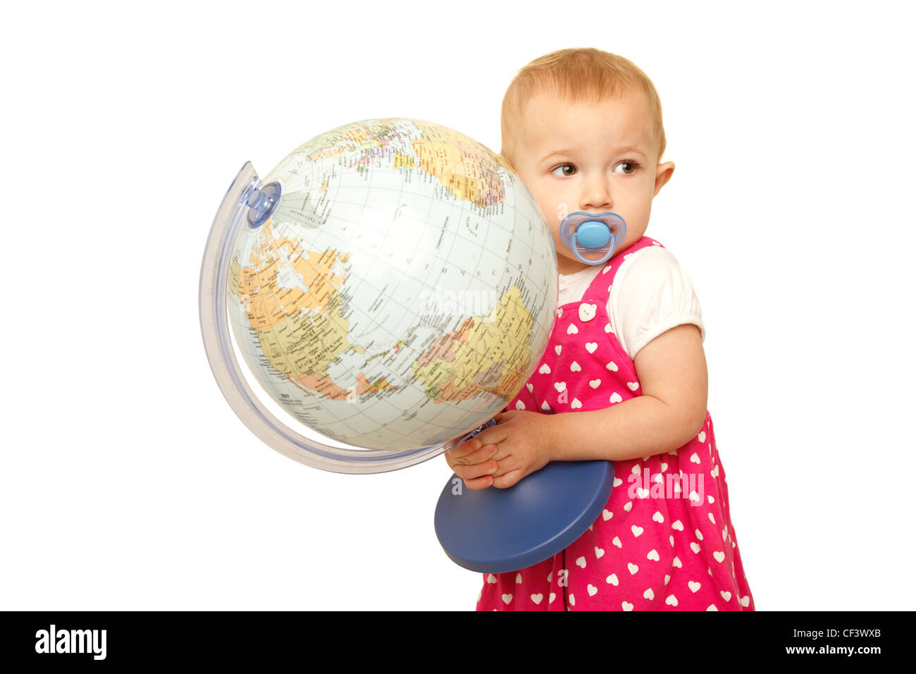 Portrait of little girl with globe in hands, on it. White background.  Horizontal format. - Stock Image