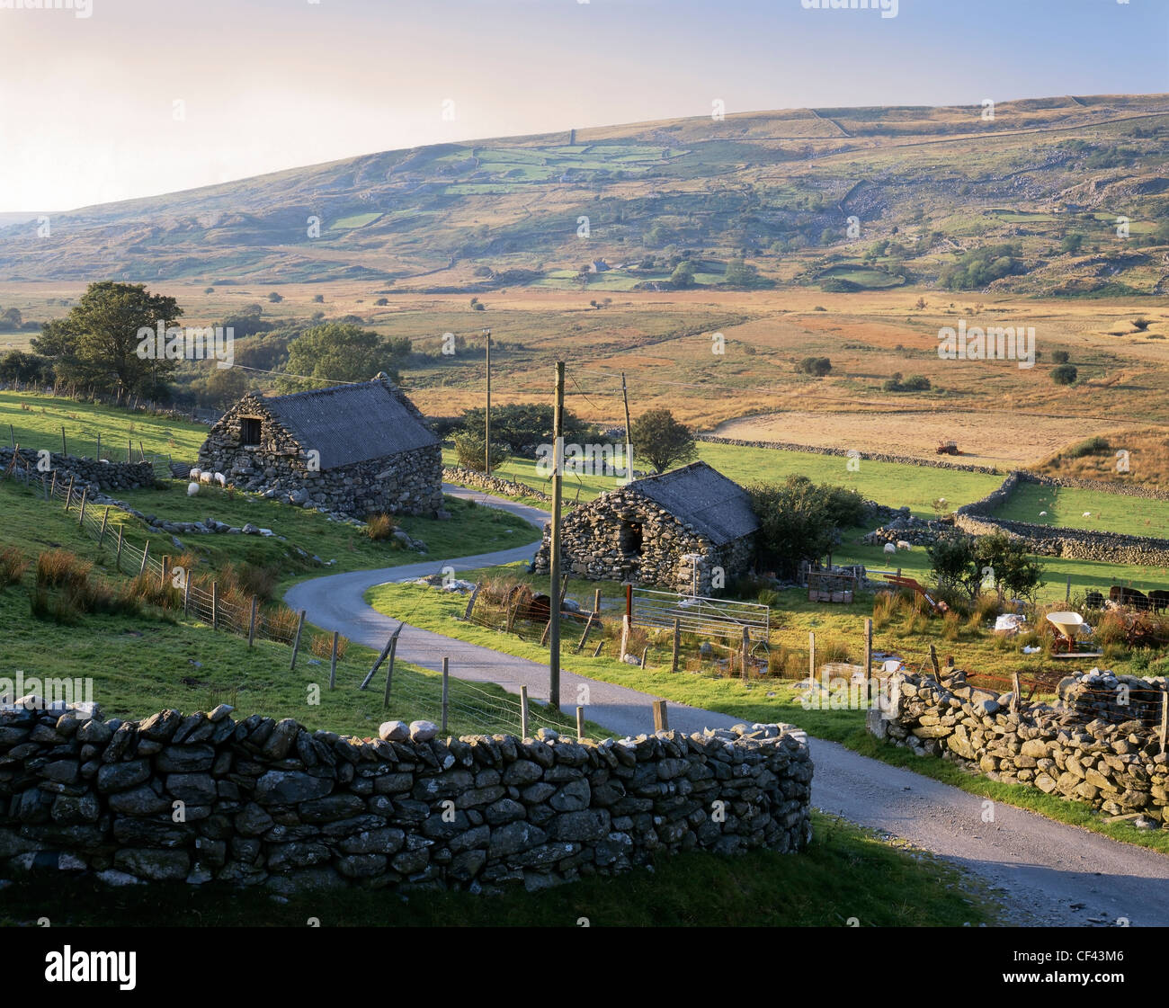 View of stone farm buildings in a remote part of southern Snowdonia. - Stock Image