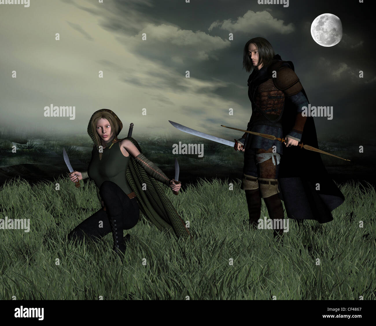 Hunters in the Moonlight - Stock Image
