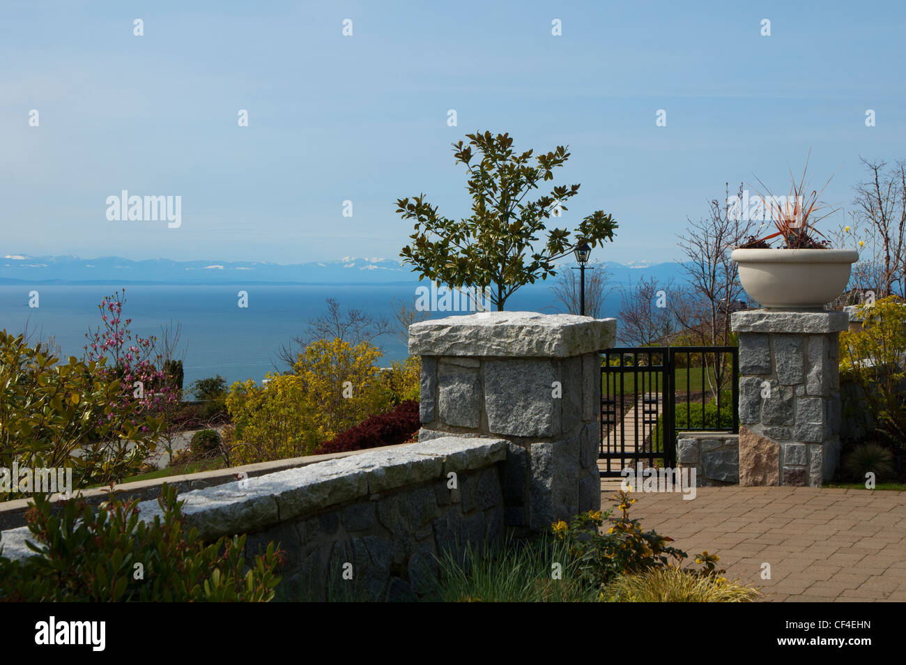 View of ocean from a property up in the wealthy neighborhood of British Properties, in West Vancouver, British Columbia, - Stock Image