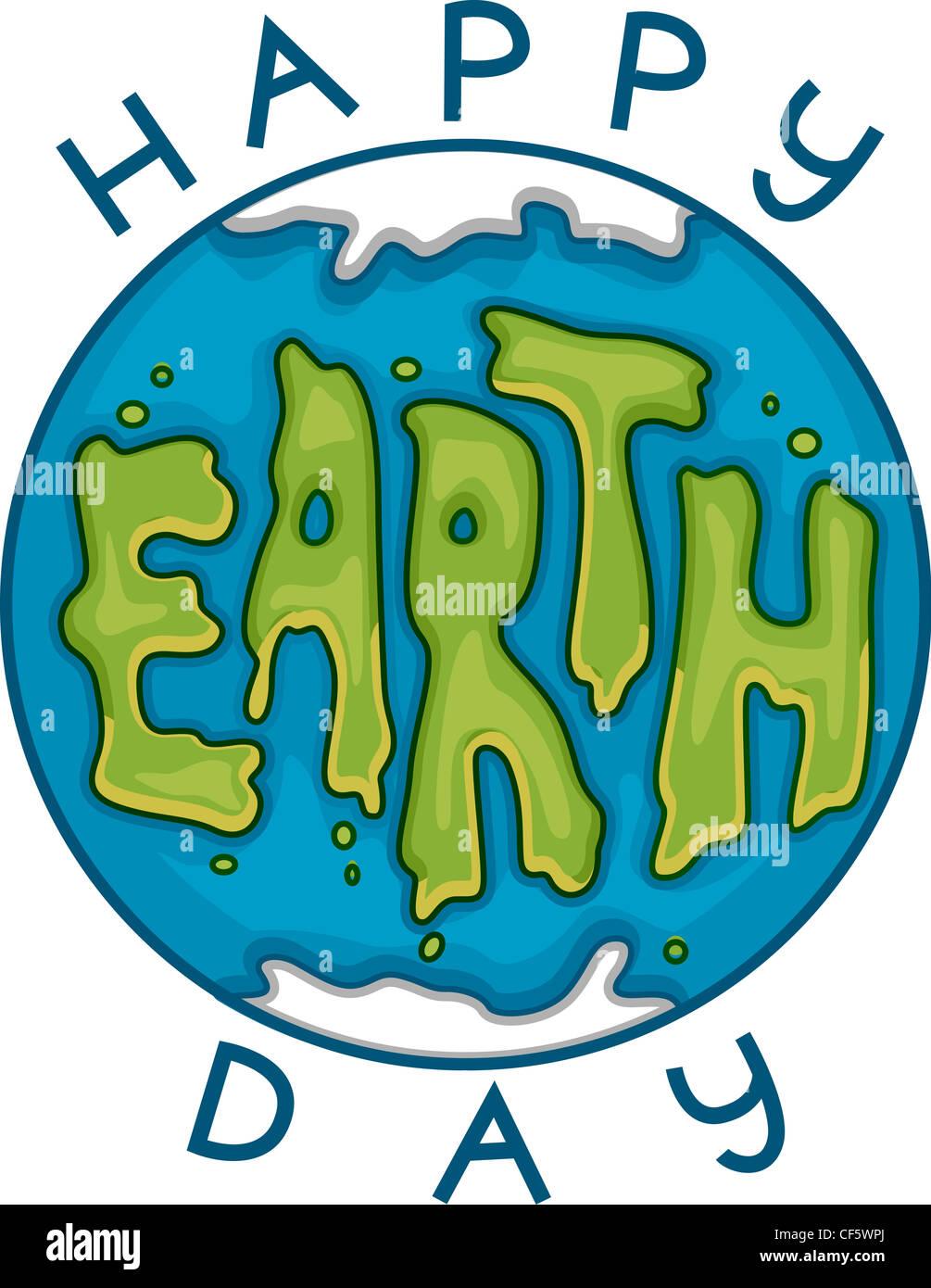 Illustration Celebrating Earth Day - Stock Image