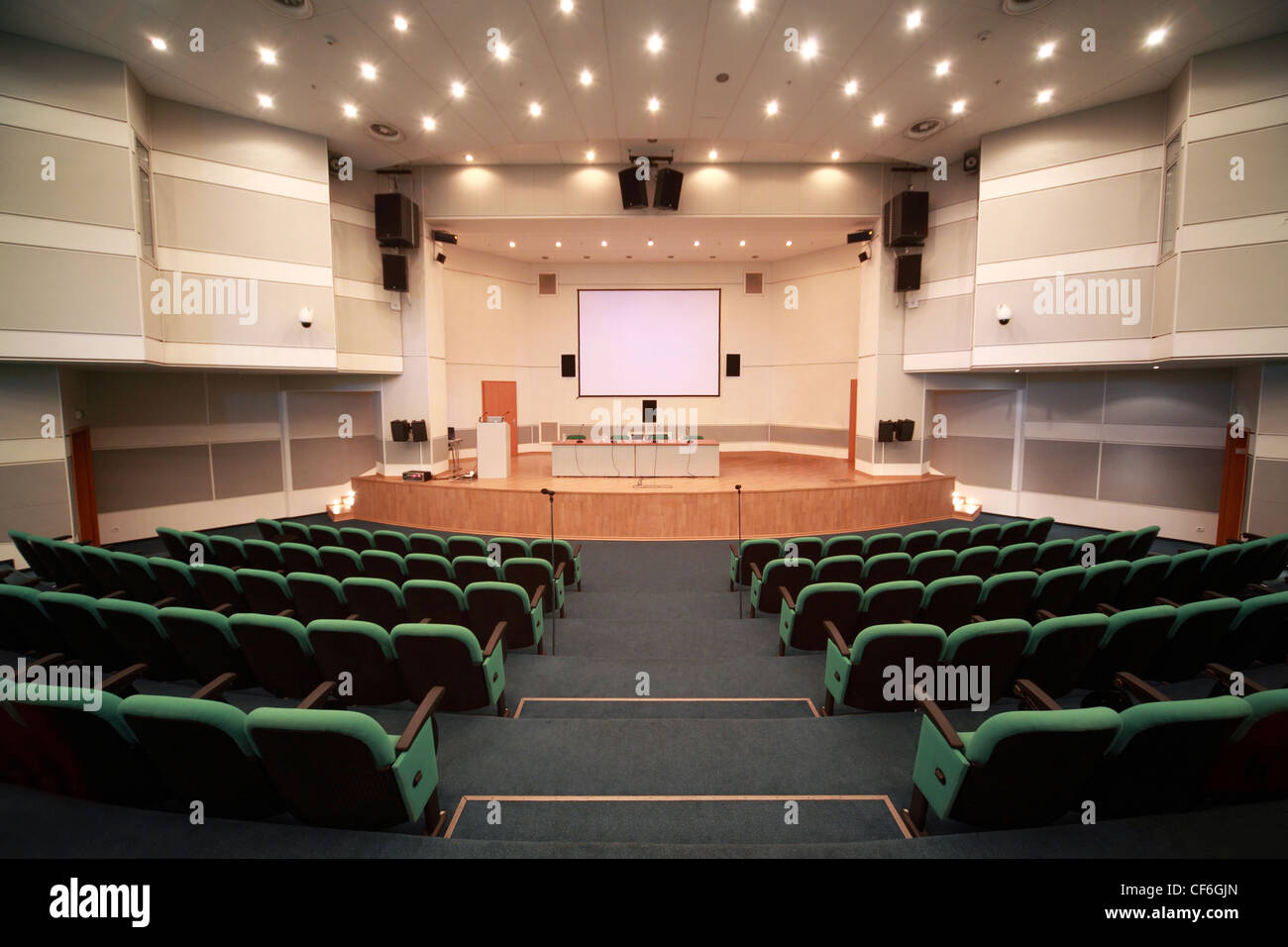 Registration of  scene and conference hall interior. View from  front entrance - Stock Image