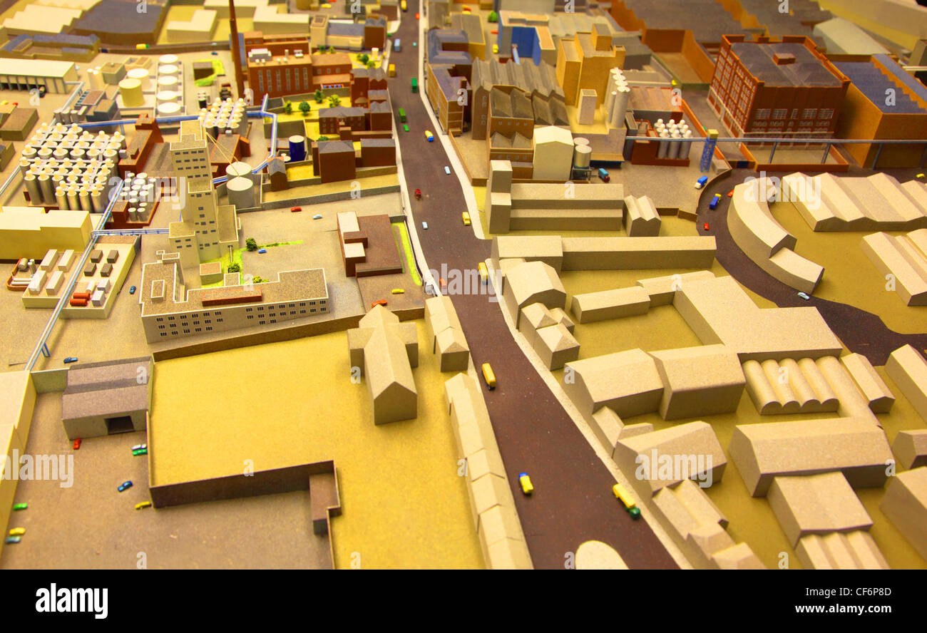 architectural breadboard model of the industrial district with models of cars - Stock Image