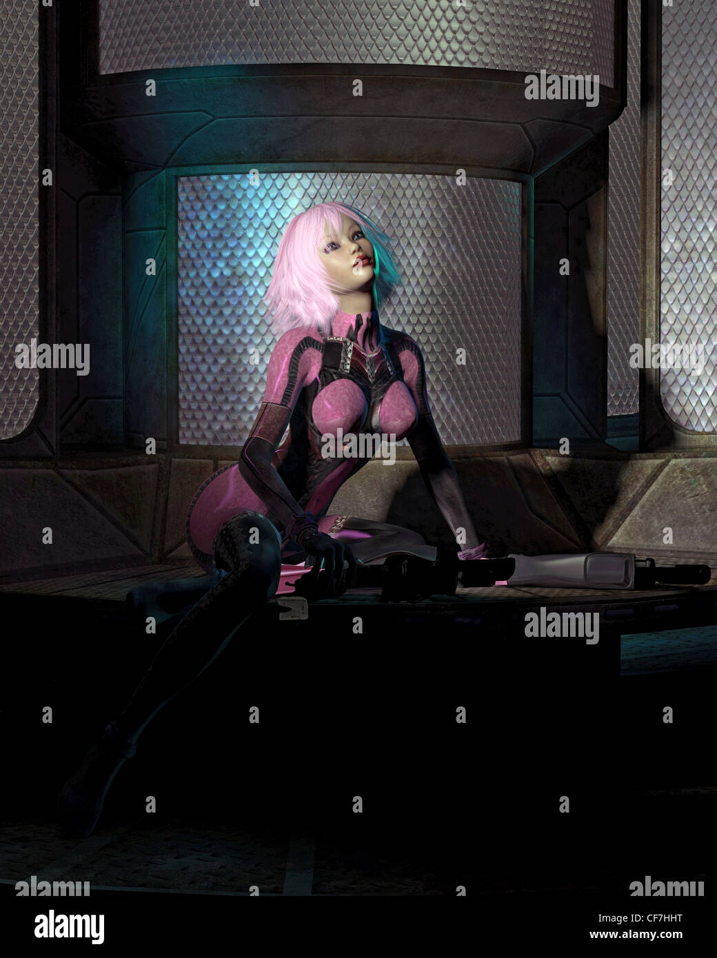 Science Fiction Catsuit Girl in a Dark Room - Stock Image