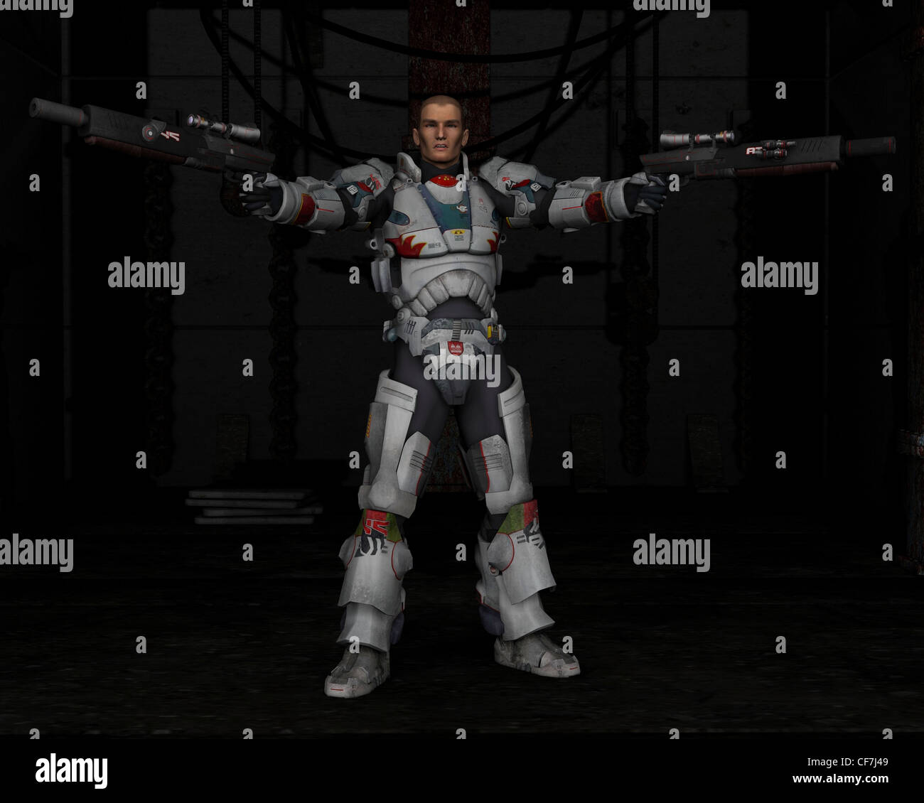Space Marine with Dark Industrial Background - Stock Image