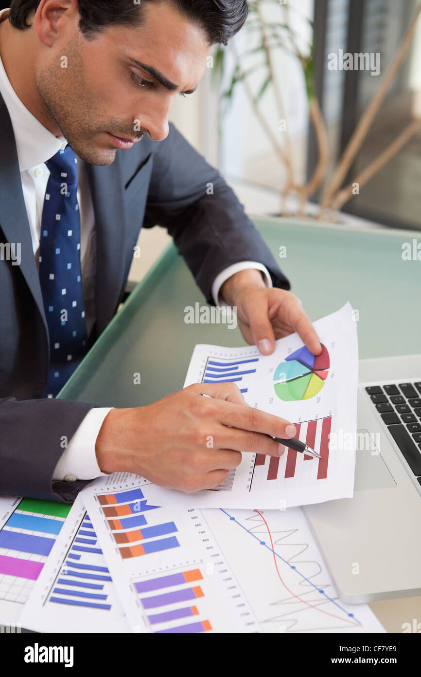 Portrait of a young sales person studying statistics - Stock Image
