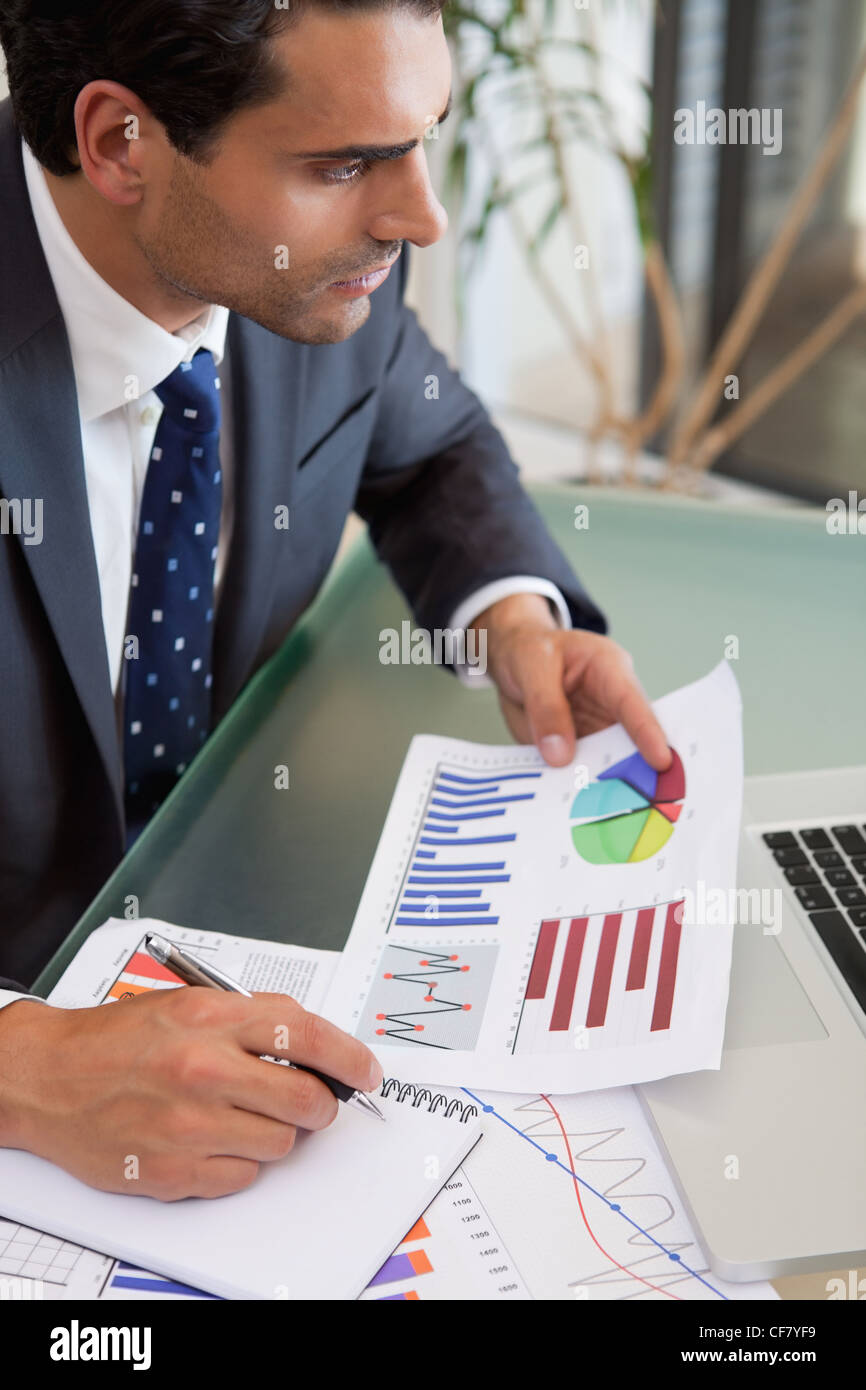 Portrait of a sales person studying statistics - Stock Image