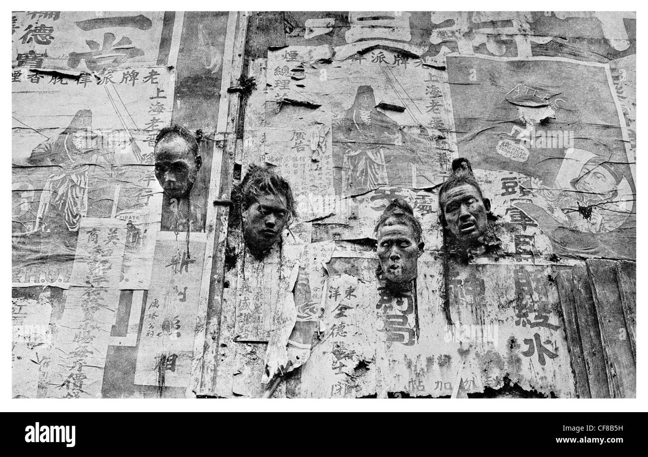 Heads of outlaws posted on Billboards at Nanking Executed 1927 - Stock Image