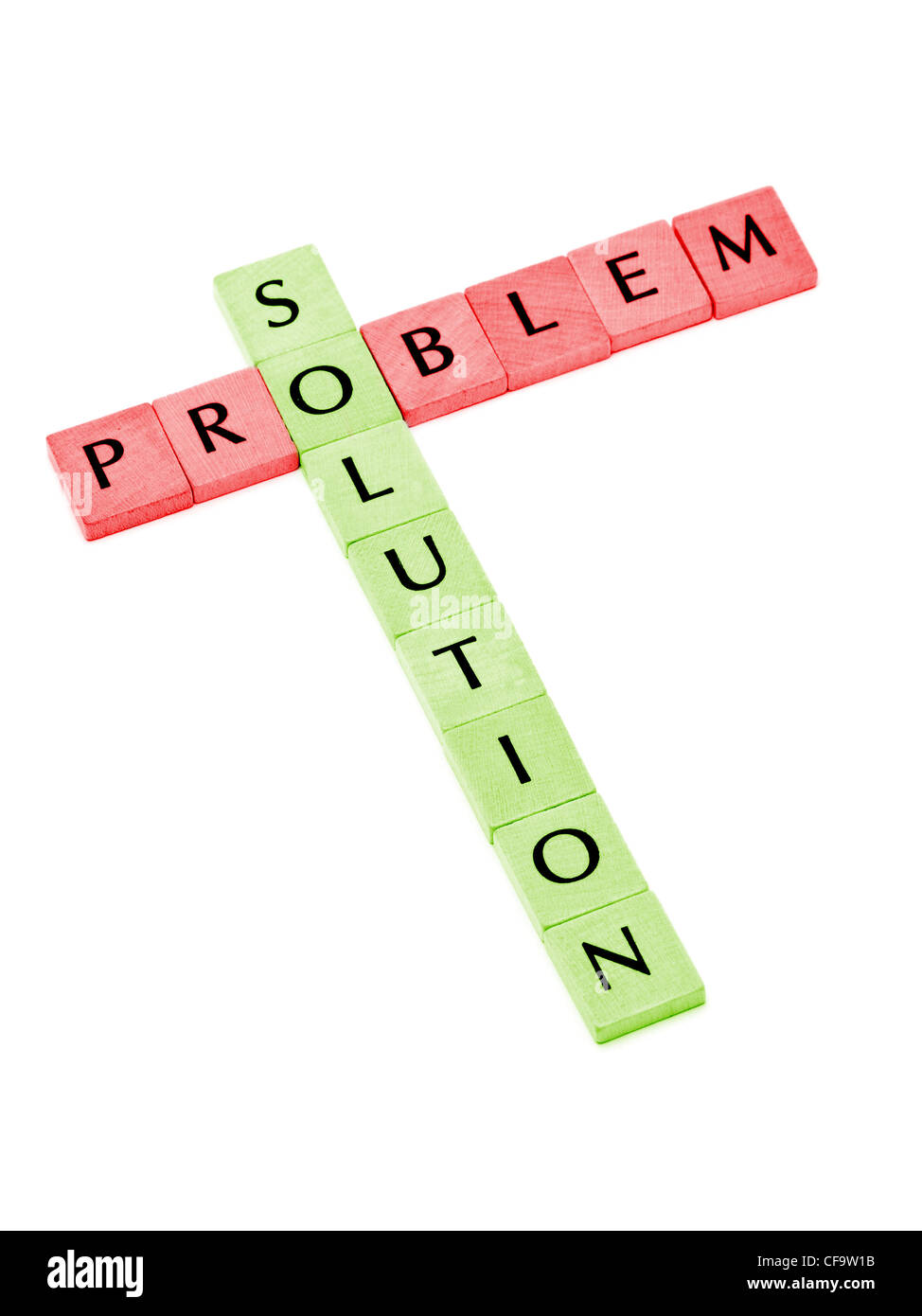Building solution from problem over white background - Stock Image