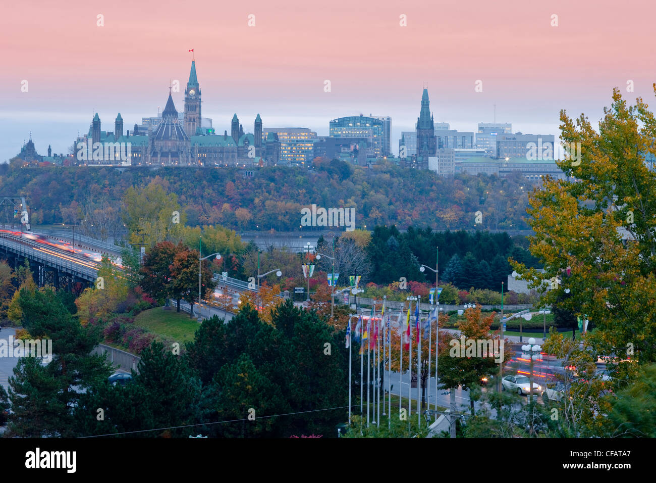 view of ottawa ontario at dusk from hull quebec canada stock