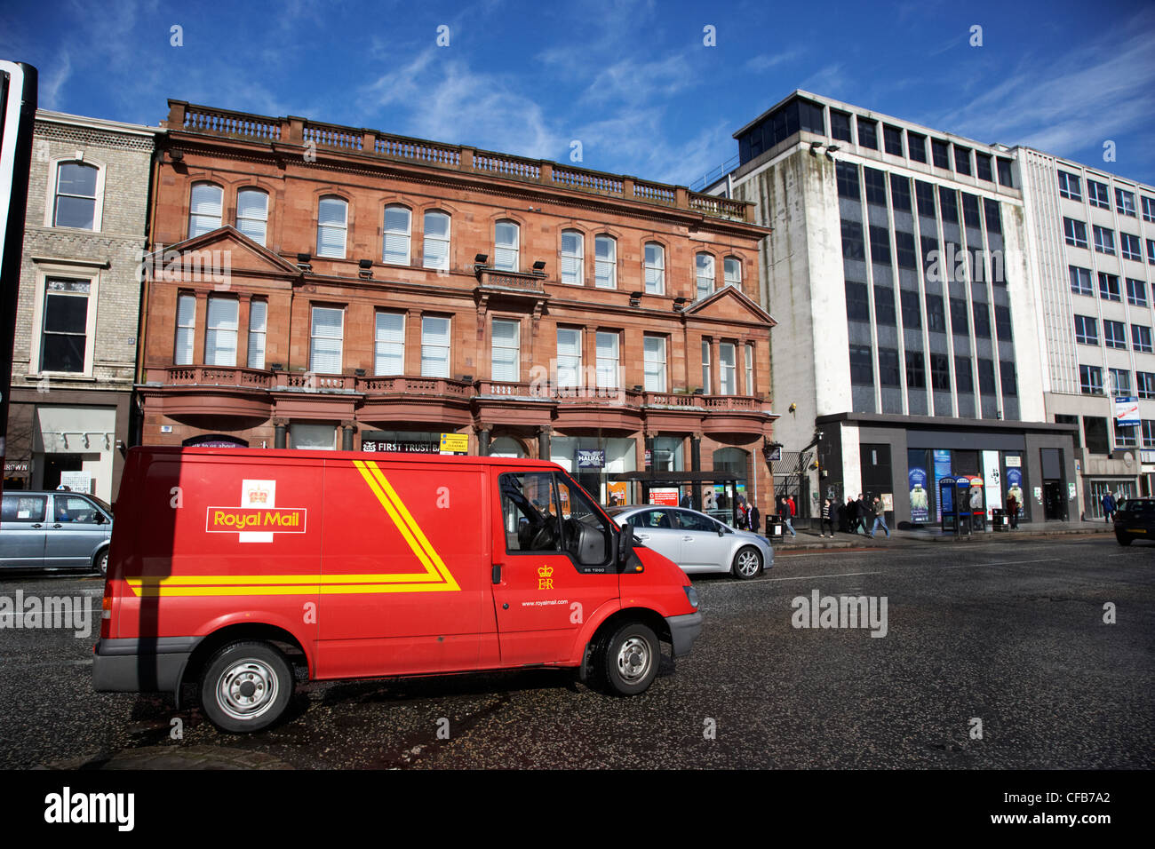 06afc870703434 royal mail delivery van parked in Belfast city centre Northern Ireland UK