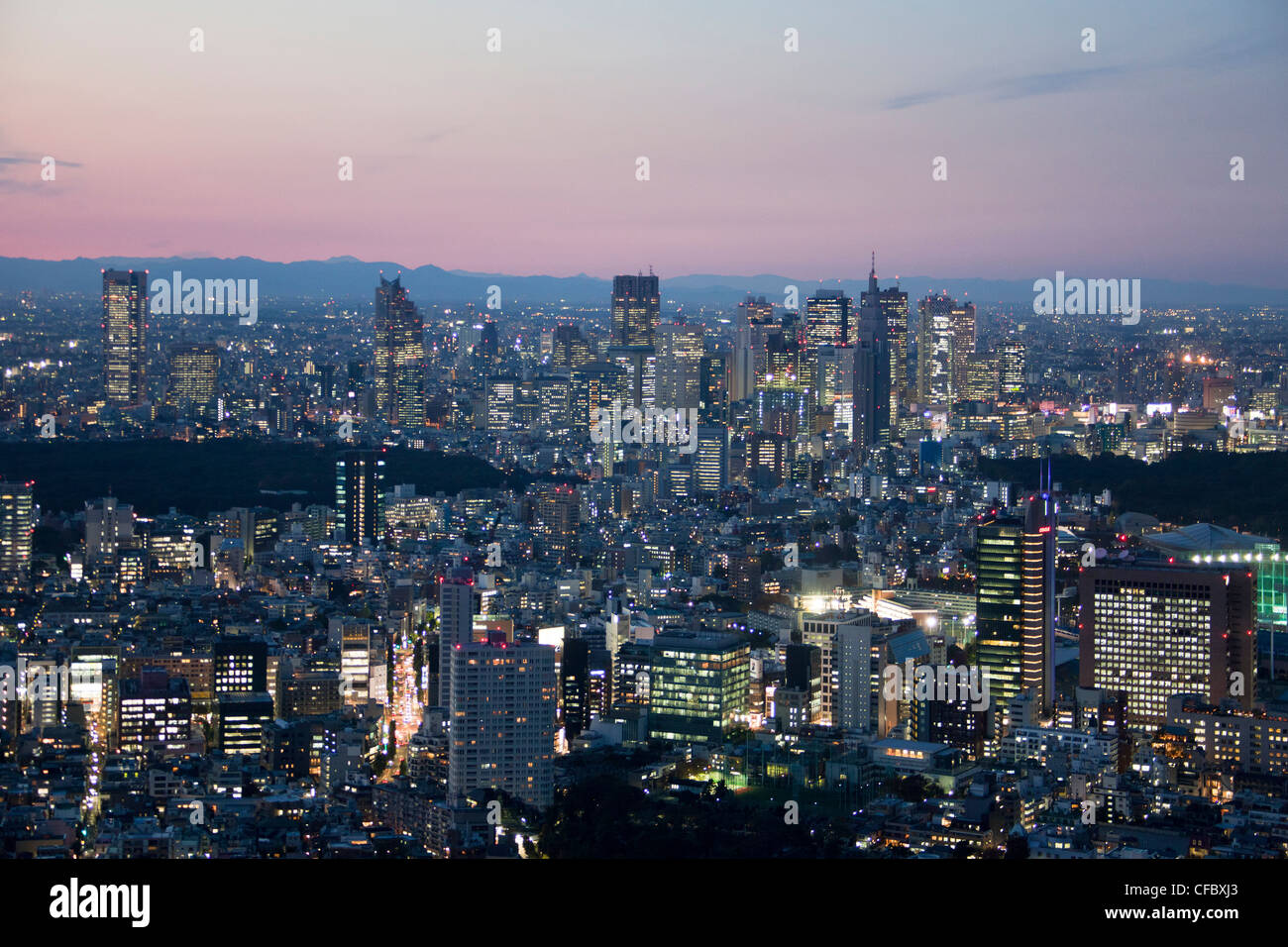 Japan, Asia, Tokyo, city, sunset, architecture, big, buildings, city, downtown, huge, lights, metropolis, skyline, - Stock Image