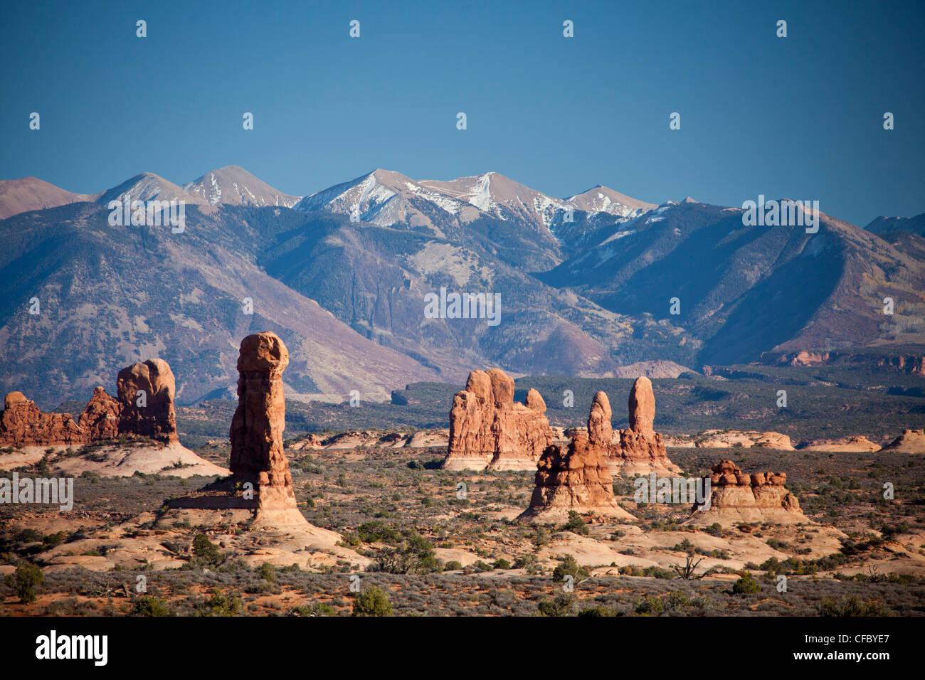 USA, United States, America, Utah, Arches, National Park, La Sal, Mountains, adventure, dry, erosion, formation, - Stock Image