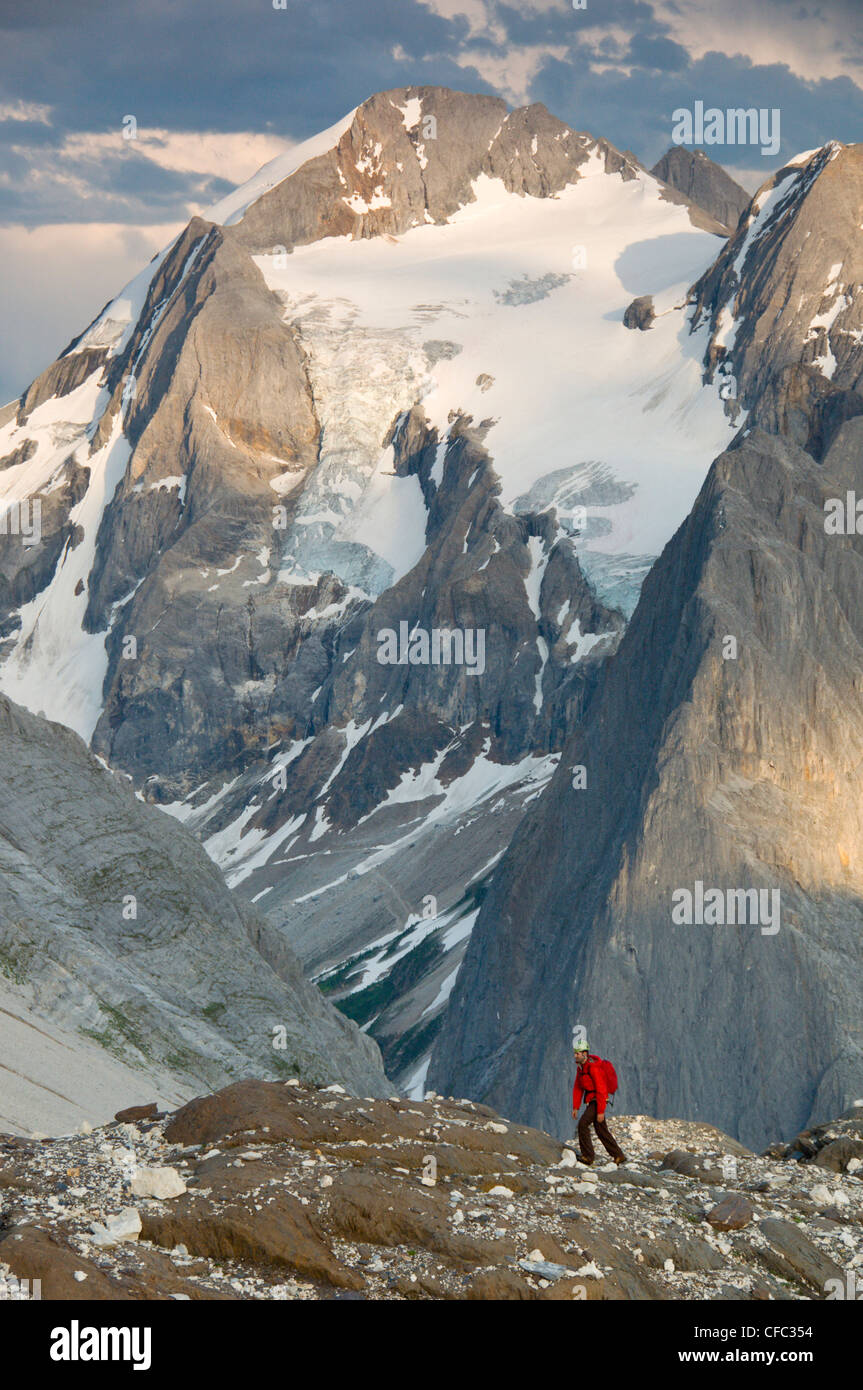 A mountaineer in front of the glaciers and limestone walls of Mount Albert, Selkirk Mountains, British Columbia, - Stock Image