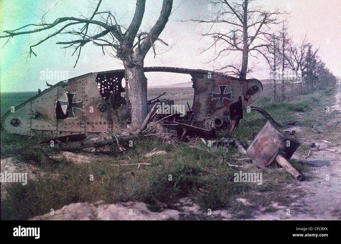 wreck, German tank, destroyed  battle, Western Front, World War I, War, World War, Europe, 1914-1918, France, Autochrome, - Stock Image