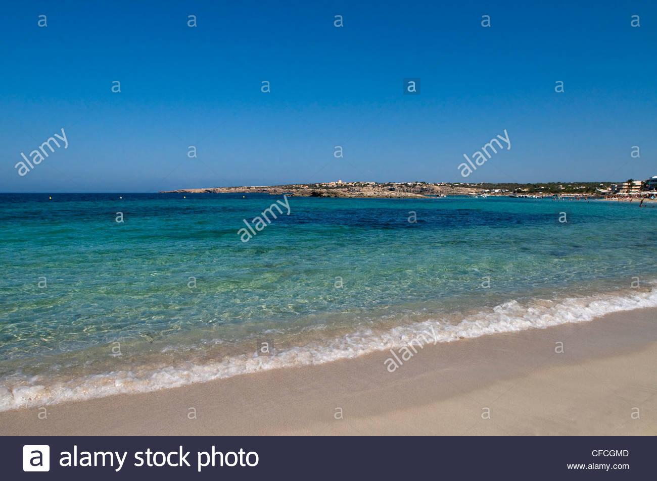Beach Es Pujol Formentera Balearics Spain - Stock Image