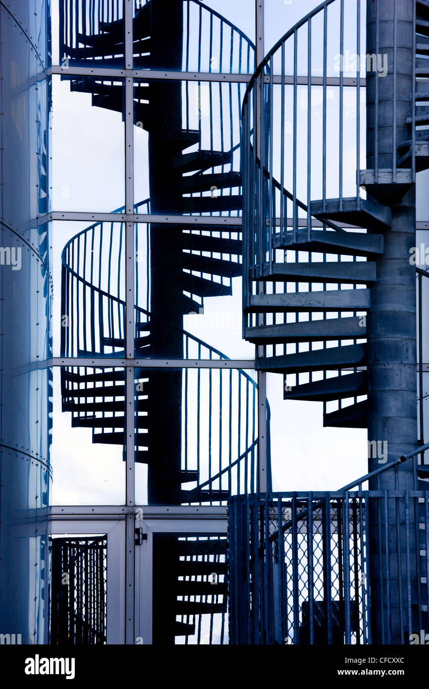 Spiral staircase and its reflection outside Perlan, a modern,housing the Saga Museum, Reykjavik, Iceland, Polar - Stock Image