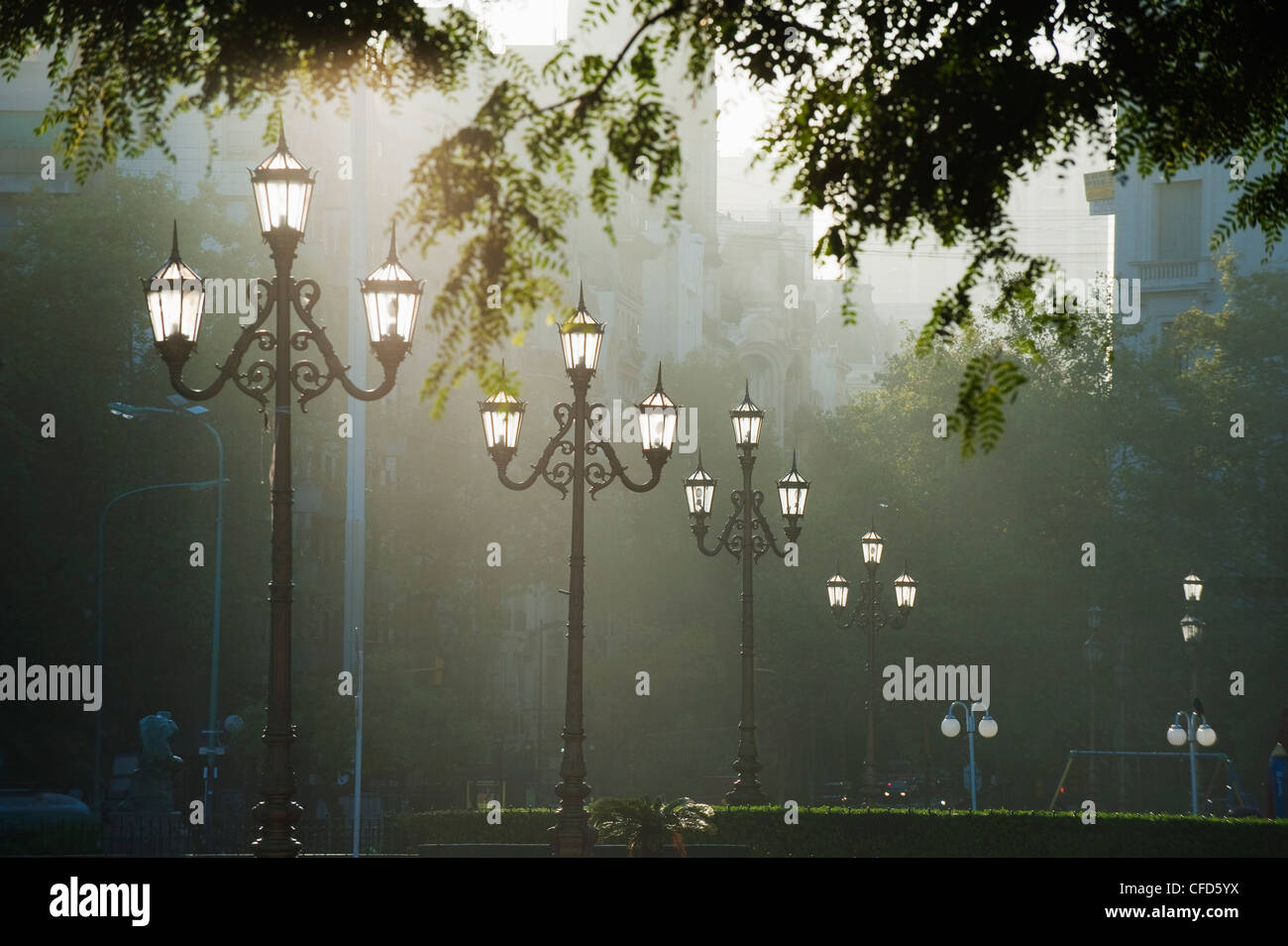 Street lamps, Buenos Aires, Argentina, South America - Stock Image