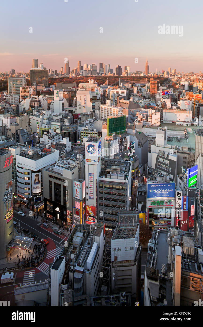 Elevated view of Shinjuku skyline from Shibuya, Tokyo, Japan, Asia - Stock Image