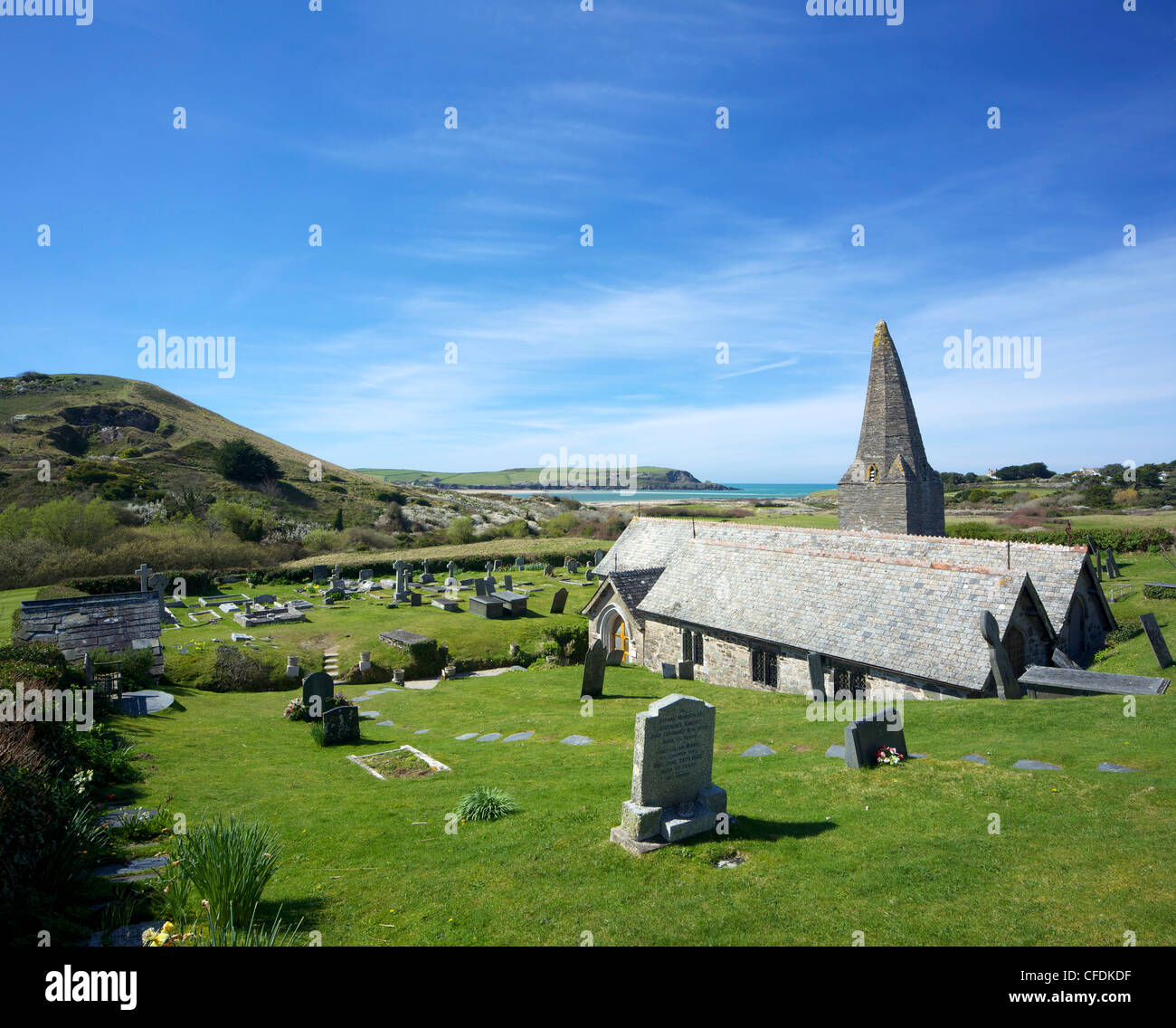 Views of Camel Estuary from the churchyard, St. Enodoc Church, Rock, North Cornwall, England, United Kingdom, Europe - Stock Image