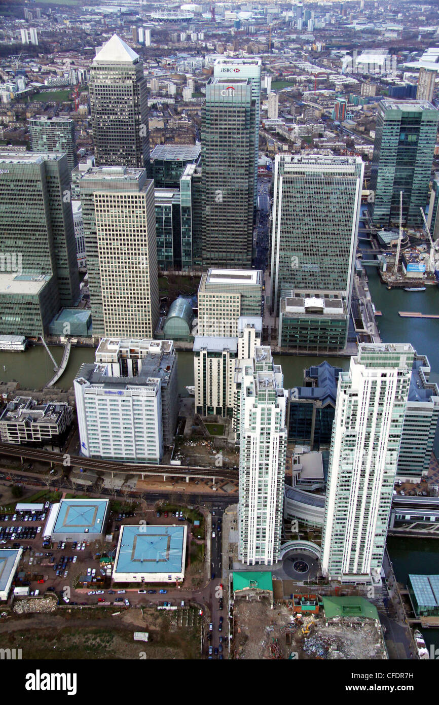 Aerial views of Canary Wharf, London - Stock Image