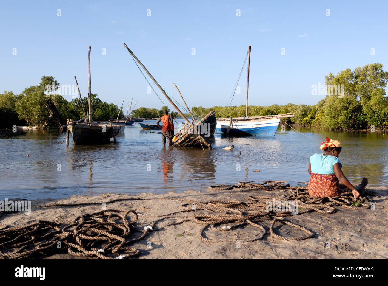 Dhows, harbour near Ibo Island, Mozambique, Africa - Stock Image
