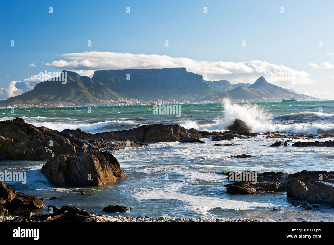 Cape Town and Table Mountain from Blouberg - Stock Image