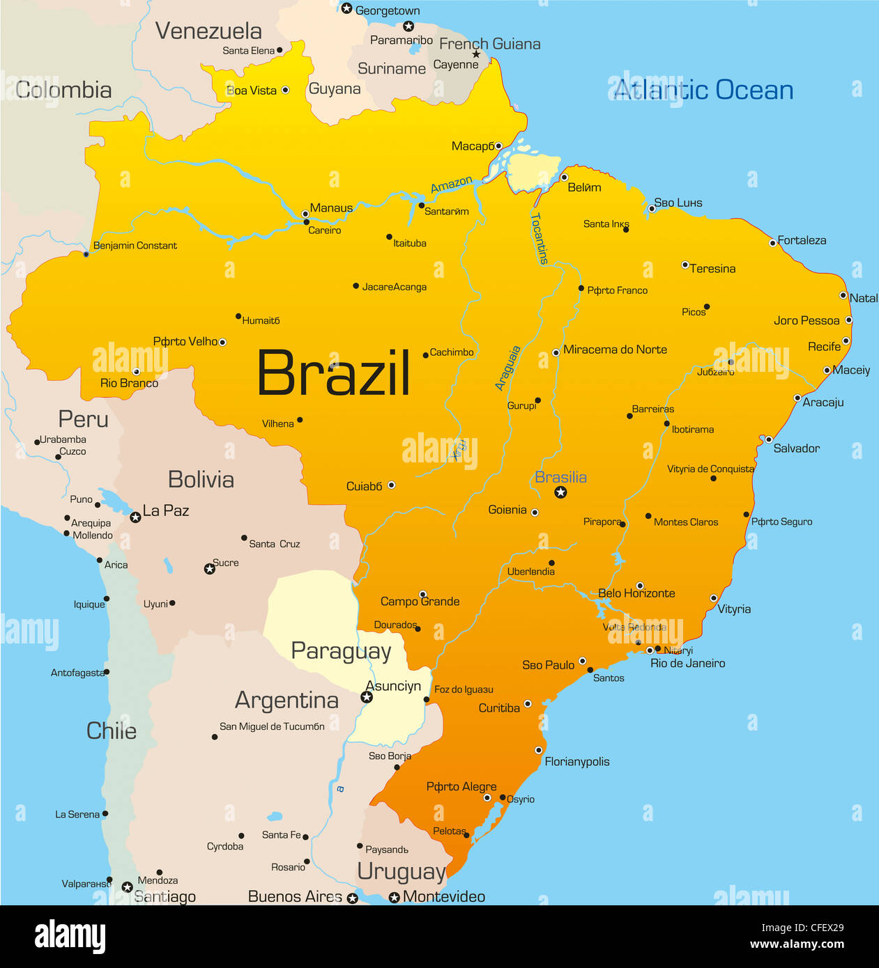 Abstract vector color map of Brazil country Stock Photo: 43968353 ...