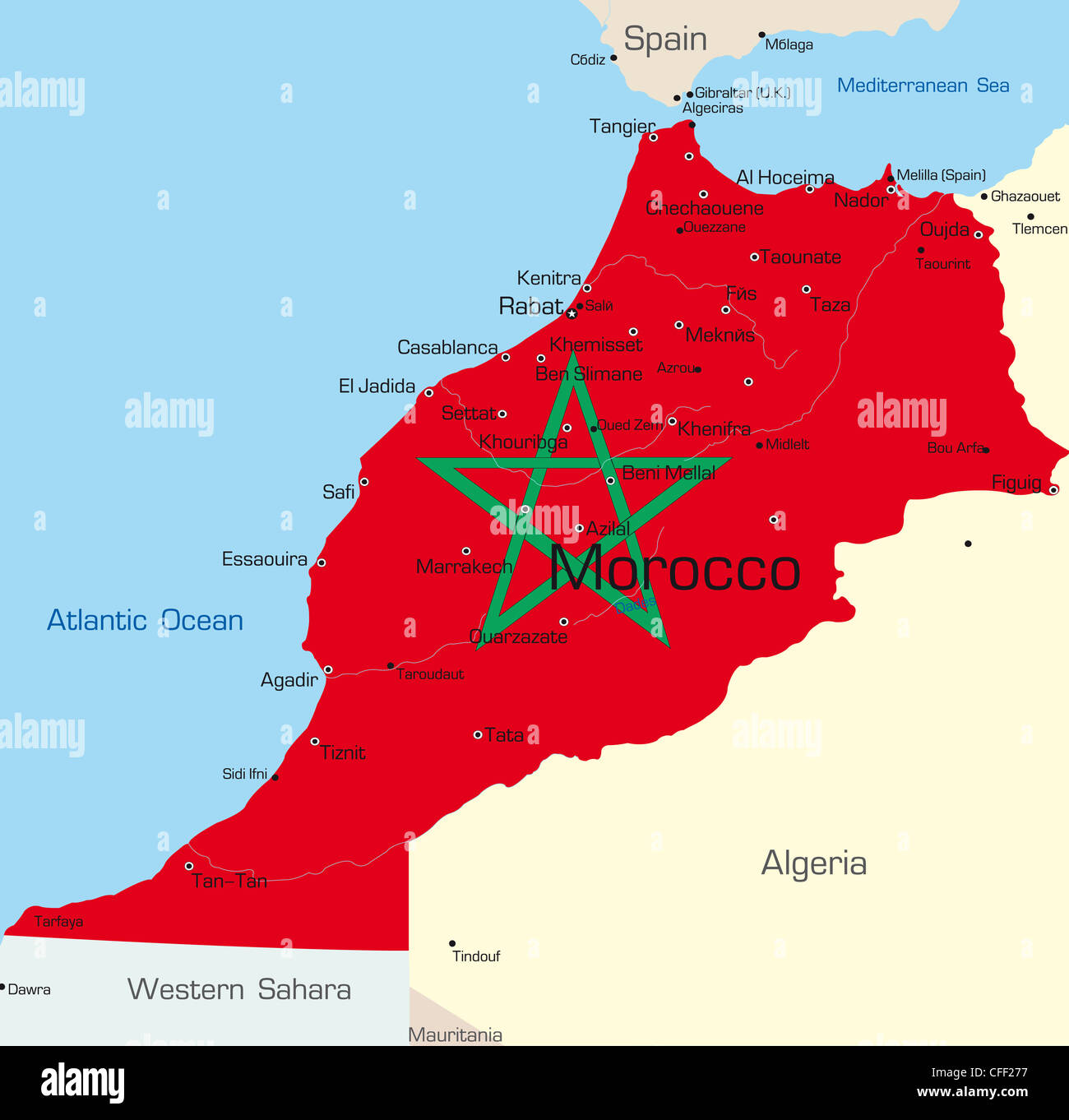 Abstract vector color map of Morocco country colored by national