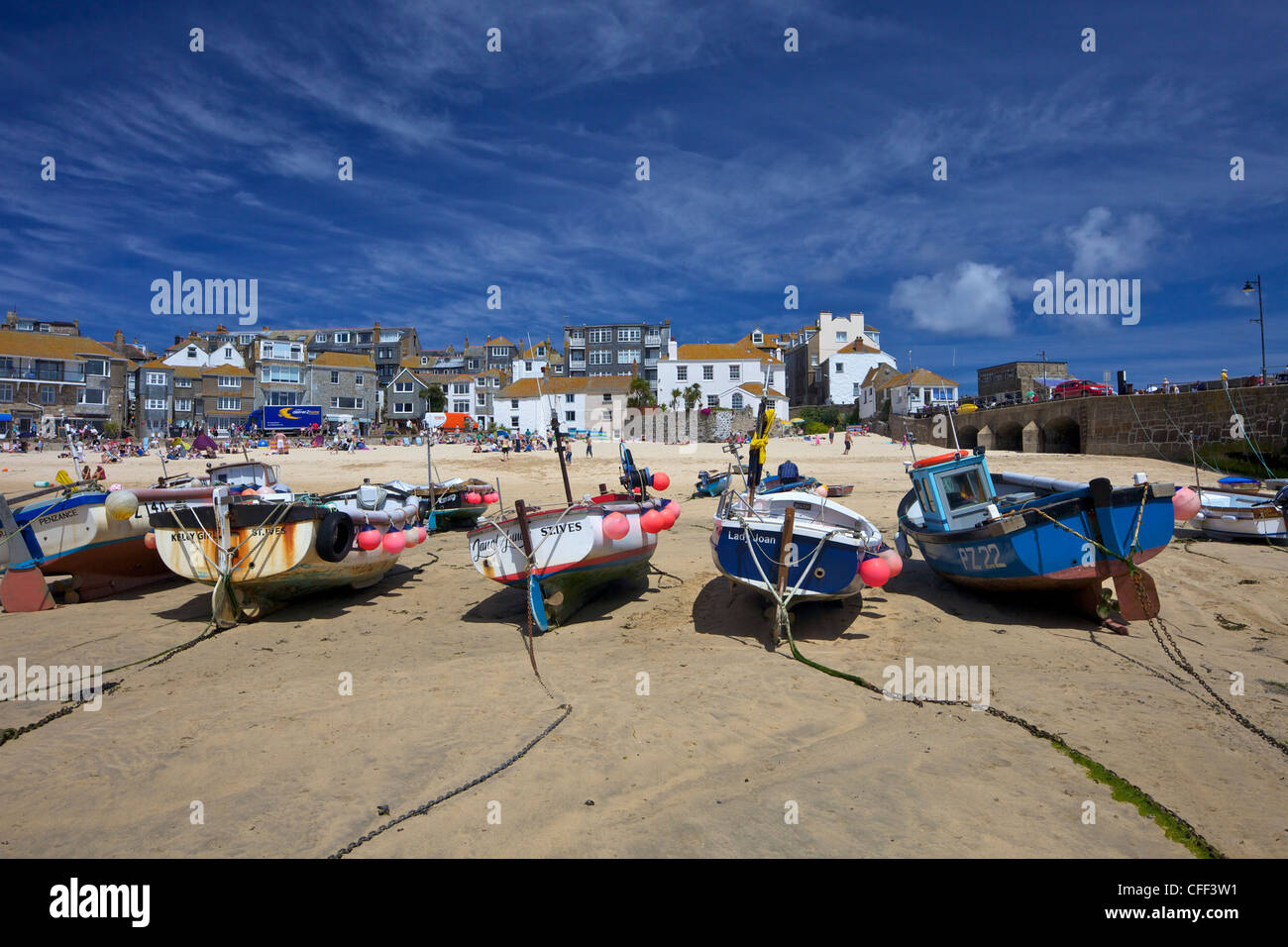 Fishing boats in the old harbour, St. Ives, Cornwall, England, United Kingdom, Europe - Stock Image