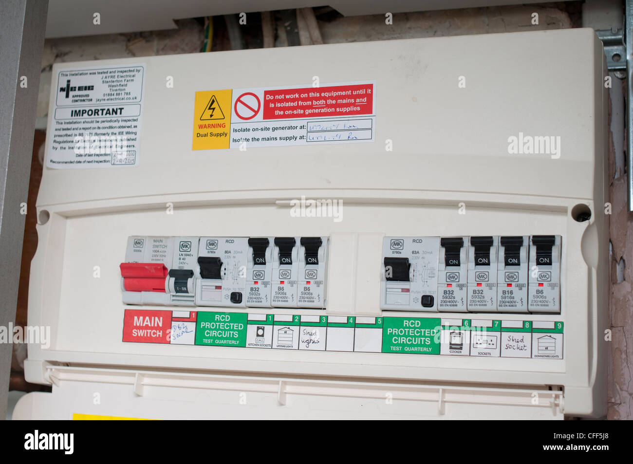 Domestic fuse box. - Stock Image