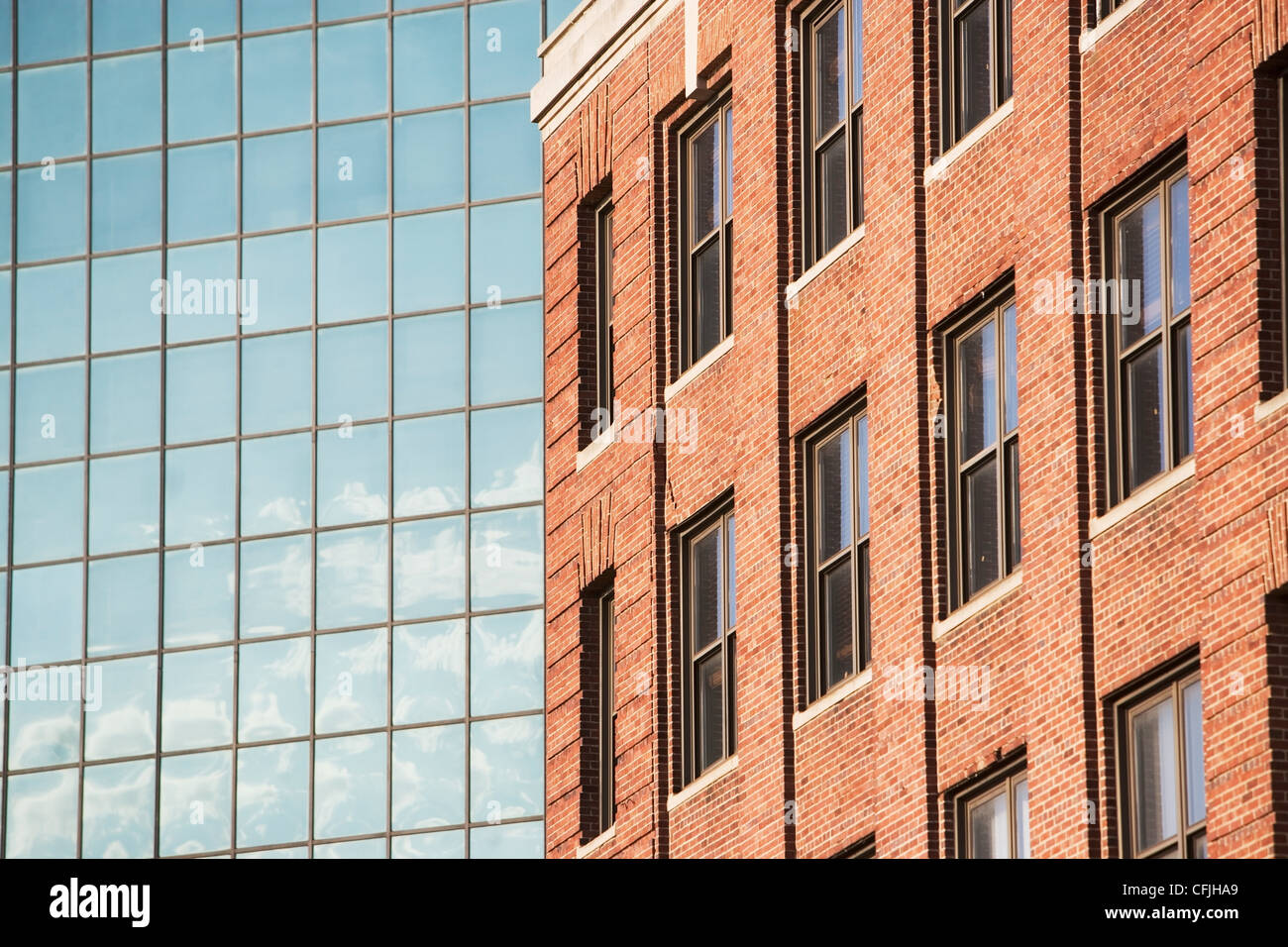 Glass and brick buildings - Stock Image