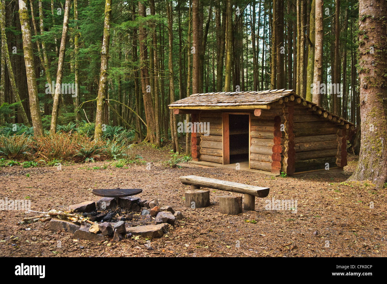 Hiker Camp on Oregon Coast Trail at Ecola State State Park on the northern Oregon coast. - Stock Image