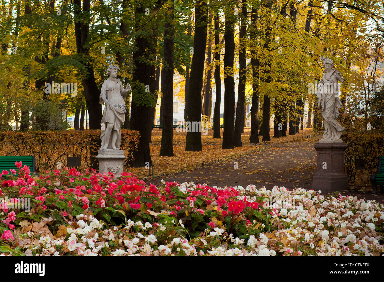 The old park Summer Garden in St.Petersburg, Russia Stock Photo ...