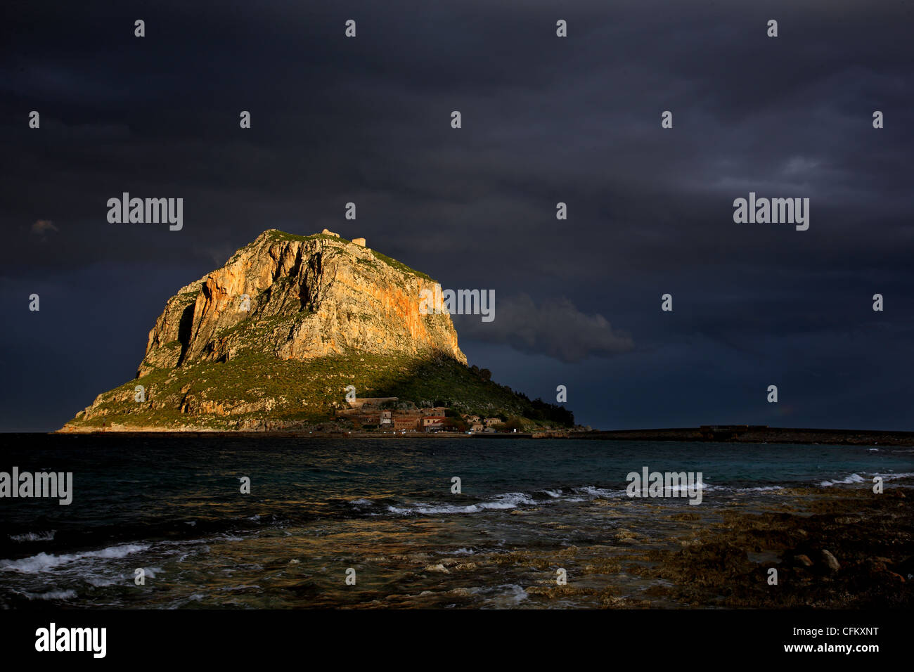 The 'backside' of the rock of Monemvasia. You can see why they call it the 'Greek Gibraltar'. Lakonia, - Stock Image