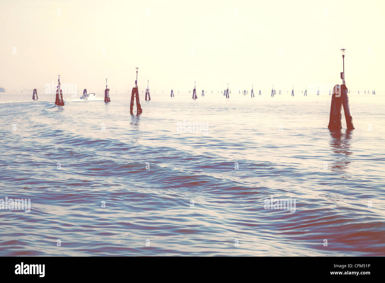 Waterway in the Lagoon of Venice - Stock Image